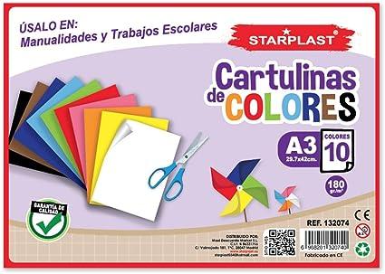 132074 - Pack de 3 Blocs de cartulinas de colores, 10 hojas, tamaño A3 29,7x42cm (De colores): Amazon.es: Oficina y papelería