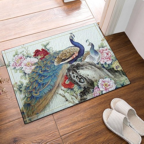 HiSoho The Blue Peacock and Pink Peony 60x40cm Flannel Non-Slip Floor Mat Bath Rug Doormat Bathroom Carpet with Patterns