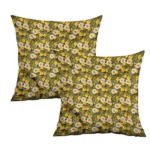 Khaki home Lotus Square Standard Pillowcase Floating Flowers of Asia Square Pillowcase Covers with Zipper Cushion Cases Pillowcases for Sofa Bedroom Car W 20
