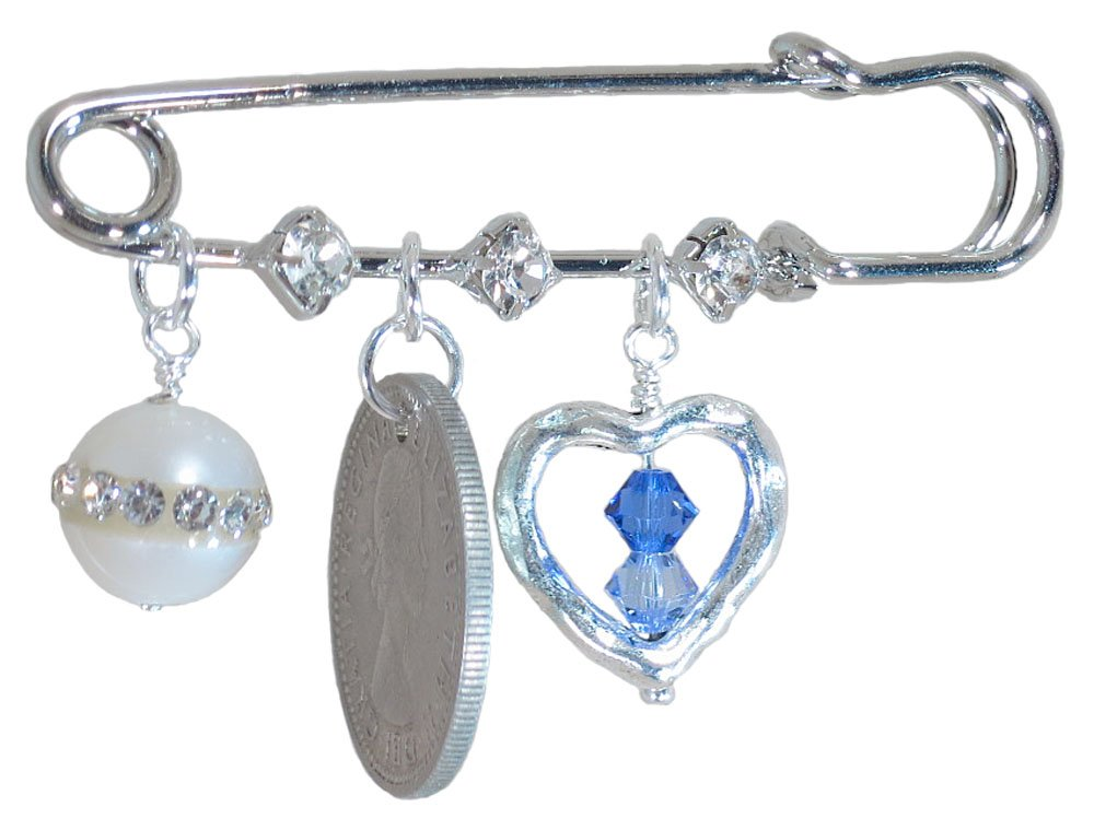 Simulated Pearl with Crystals, Six Pence, and Silver Heart with Blue Crystals Bridal Pin