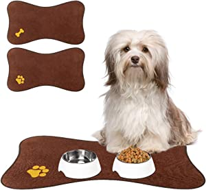 PUPTECK Non-Slip Dog Food Mat for Floors, 2 Pack Waterproof Pet Feeding Mat for Dog Bowls with High Water Absorption, Cute Brown Bone Shape for Small Medium Dogs Cats