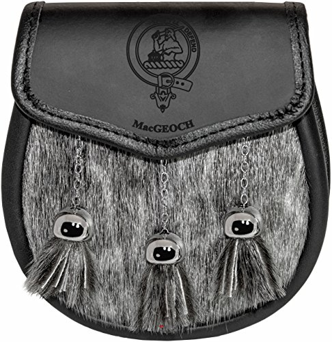 MacGeoch Semi Dress Sporran Fur Plain Leather Flap Scottish Clan Crest