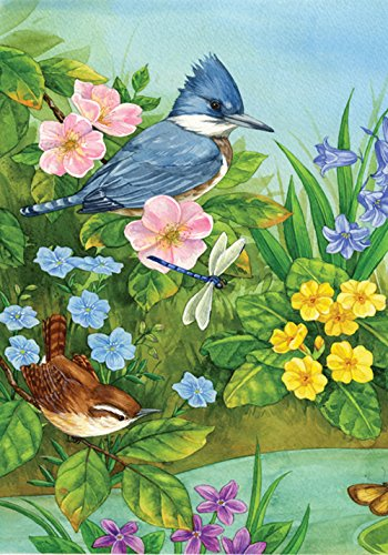 House Dragonfly Bird (Toland Home Garden Blue Jay and Friends 28 x 40 Inch Decorative Colorful Spring Bird Flower Dragonfly House Flag)