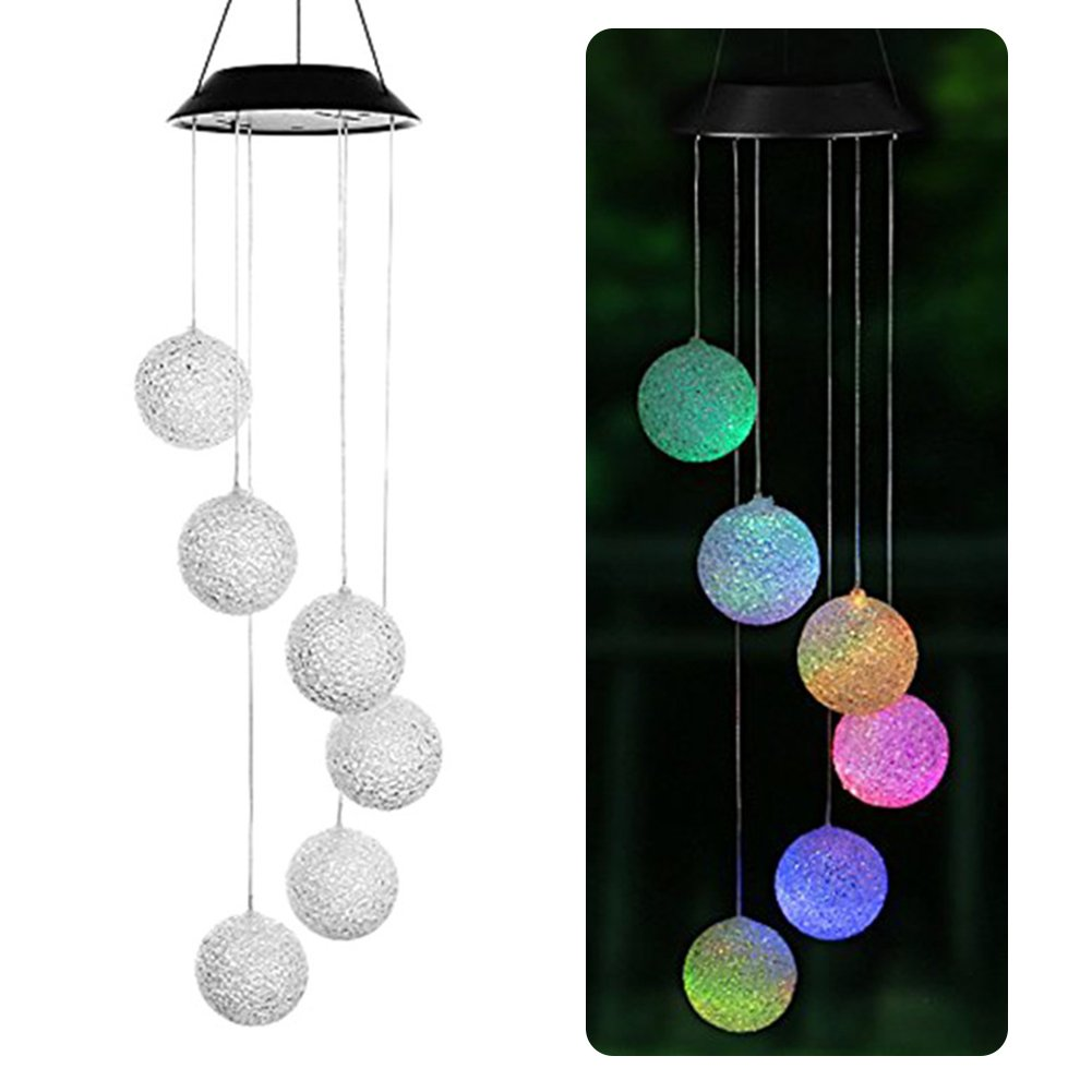 MOLRE-YAN LED Solar Powered Wind Chimes Portable Color-Changing Spiral Spinner Windchime Hanging Lamp Garden Home Party Balcony Decorations