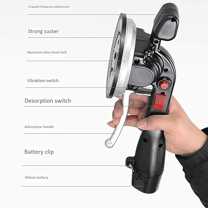 Piastrellatrice Elettrica 21V Strumento di Livellamento Automatico Color : 1xlithium Batteries Adsorbimento 320 kg Max Piastrelle per Pavimenti//Pareti Utensile Vibrante per Piastrellista