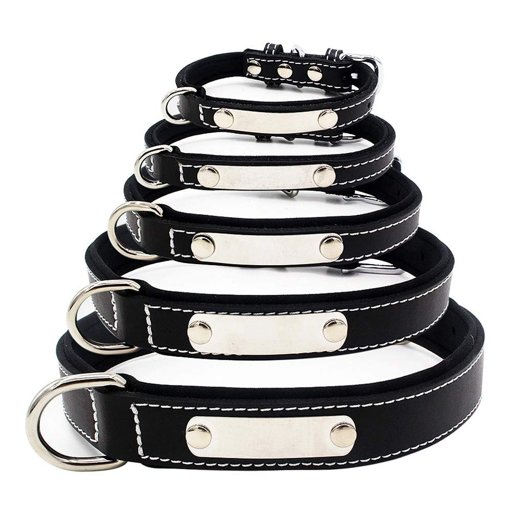 Pet1997 Fashion Dog Pet Cat Dog Collars Collar Stainless Steel Rounded Square Buckle Pet Collar Dog Cat Collar Stainless Steel Lettering Can Be Adjusted Cute Pet Necklacce (Black, XS)