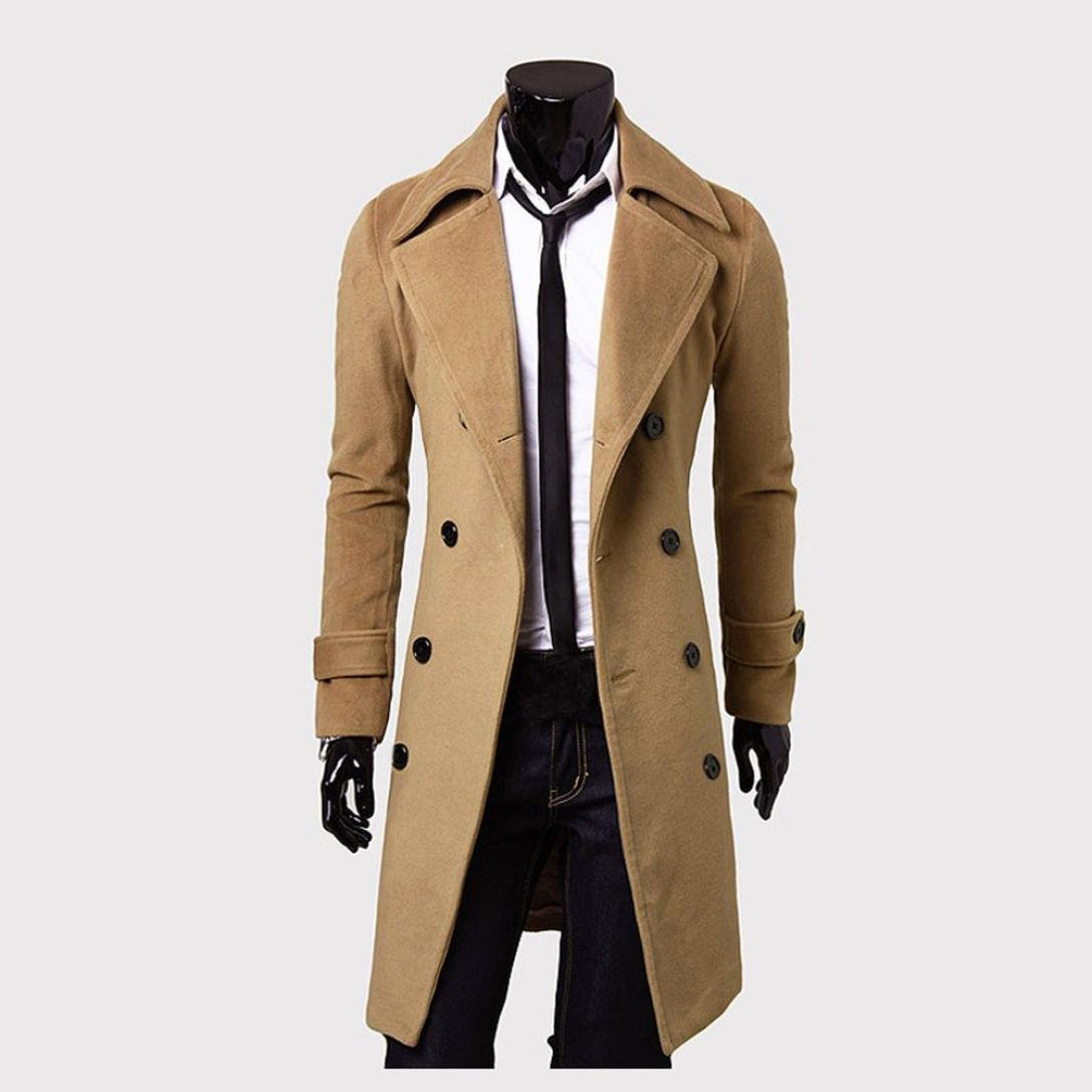 Mamum Fashion Mens Winter Trench Coat Long Jacket Double Breasted Overcoat Black//Khaki//Grey
