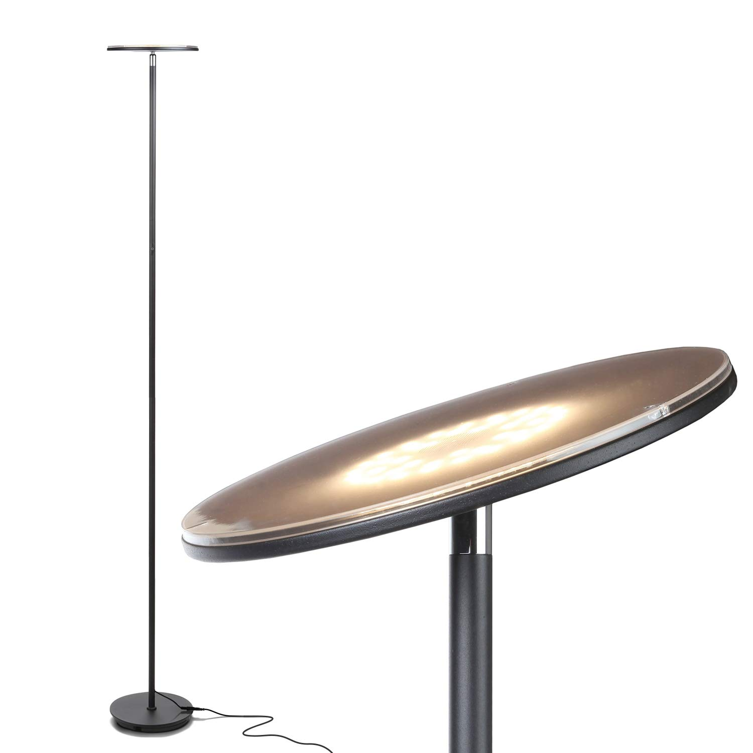Brightech Sky LED Torchiere Super Bright Floor Lamp – Tall Standing Modern Pole Light for Living Rooms Offices – Dimmable Uplight for Reading Books in Your Bedroom etc – Black