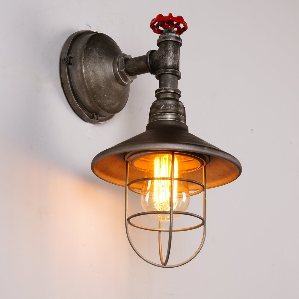 ONEPRE Industrial Wall Lights Steampunk Vintage eidson Wall Lamp Machine Age Water Pipe Wall Sconce with Metal Cage Lamp Shade