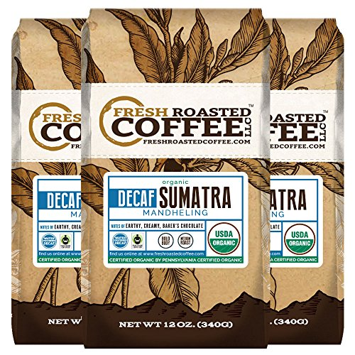 Sumatra Decaf Organic Fair Trade Coffee, Whole Bean, Mountain Water Processed Decaf Coffee, Fresh Roasted Coffee LLC. (Pack of 3) (Organic Decaf Whole Bean Coffee compare prices)