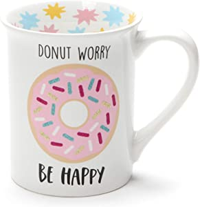 Enesco Our Name Is Mud Donut Worry Be Happy, 16 ounce, Multicolor Stoneware Glitter Mug