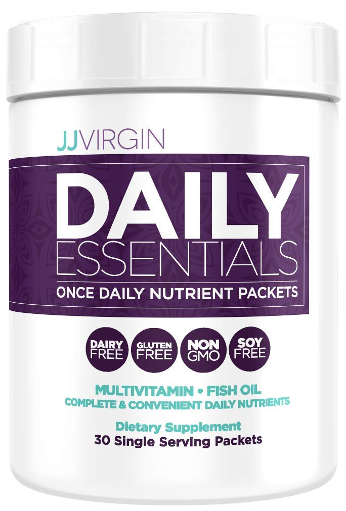JJ Virgin Daily Essentials Vitamin Packs – Once Daily Multi Vitamins, Minerals, Antioxidants High Quality Fish Oil Packets 30 Count