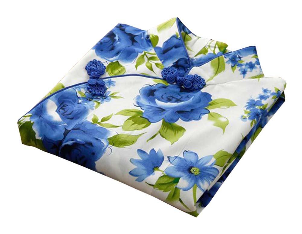 East Majik Girls Short Sleeve Cheongsam Baby Qipao Dress Blue Peony Flower by East Majik