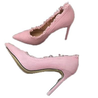 a43bd7712a8 Amazon.com | LR Top Quality Denim High Heels New Fashion Women Shoes ...