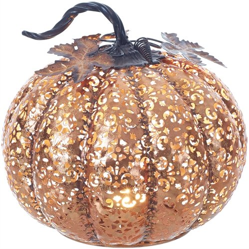 Rustic Copper Finish Filigree Metal Pumpkin with Curved Stem and Decorative Leaves - 9 inch ()
