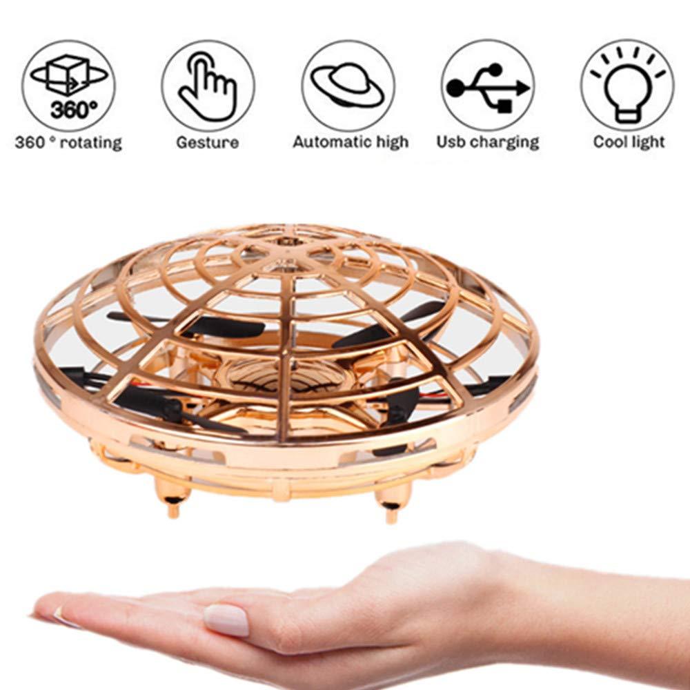 achat Mini drone Flying Ball Toys pour enfants ou adultes, hélicoptère Quadcopter pour hélicoptère de drone KENROLL 360 °àrotation à induction infrarouge rotatif à la main pour garçons filles(Or-Mini Drone) pas cher prix