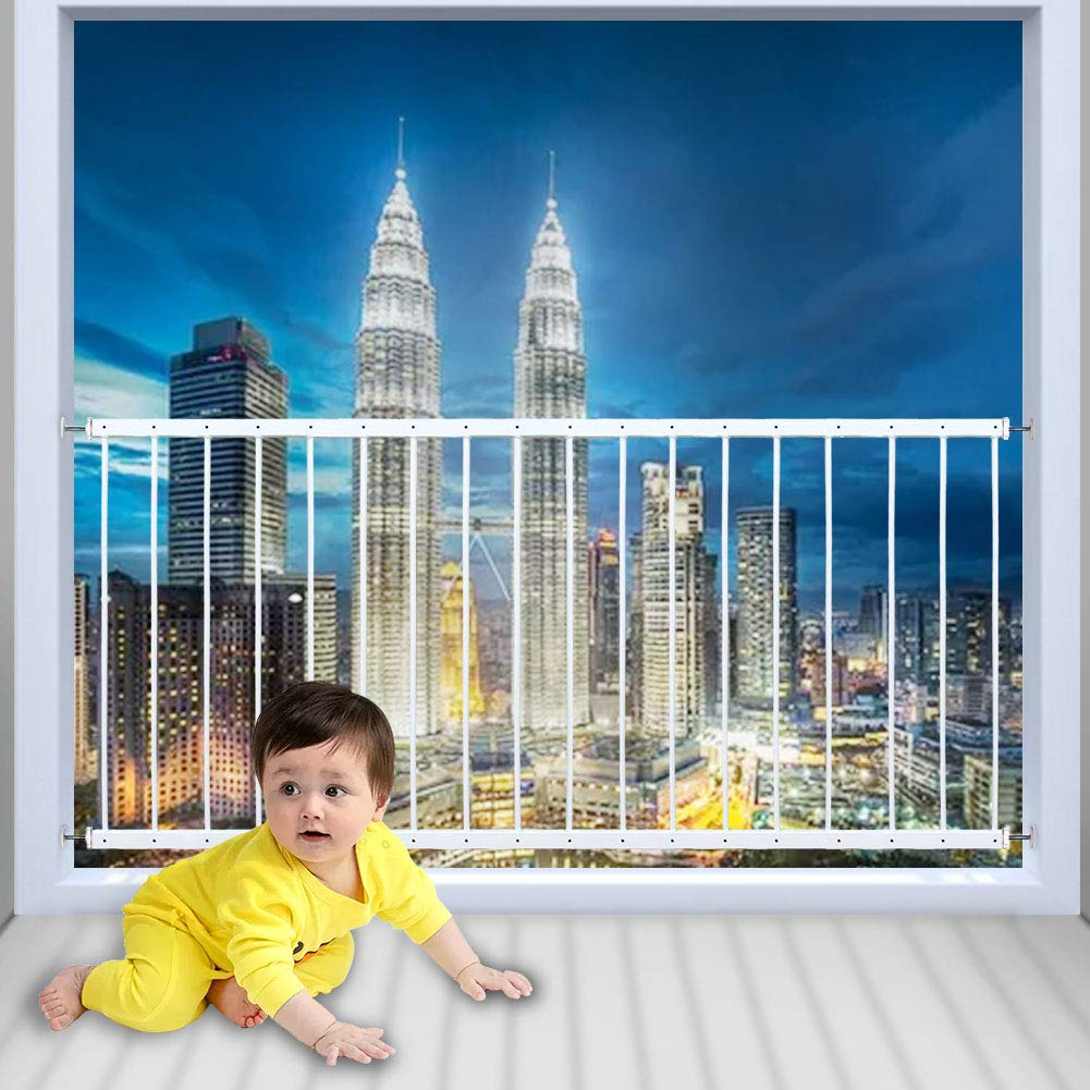 WAOWAO Window Safety Guards for Children Kids Child Toddler Pets Proof Extra Wide White Tension Security Window Guard Gate for Home Fit 31.50
