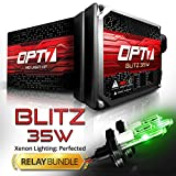 Blitz 35w 9007 Hi-Lo HID Kit - Relay Bundle - All Bulb Sizes and Colors - 2 Yr Warranty [Hot Green Xenon Light]