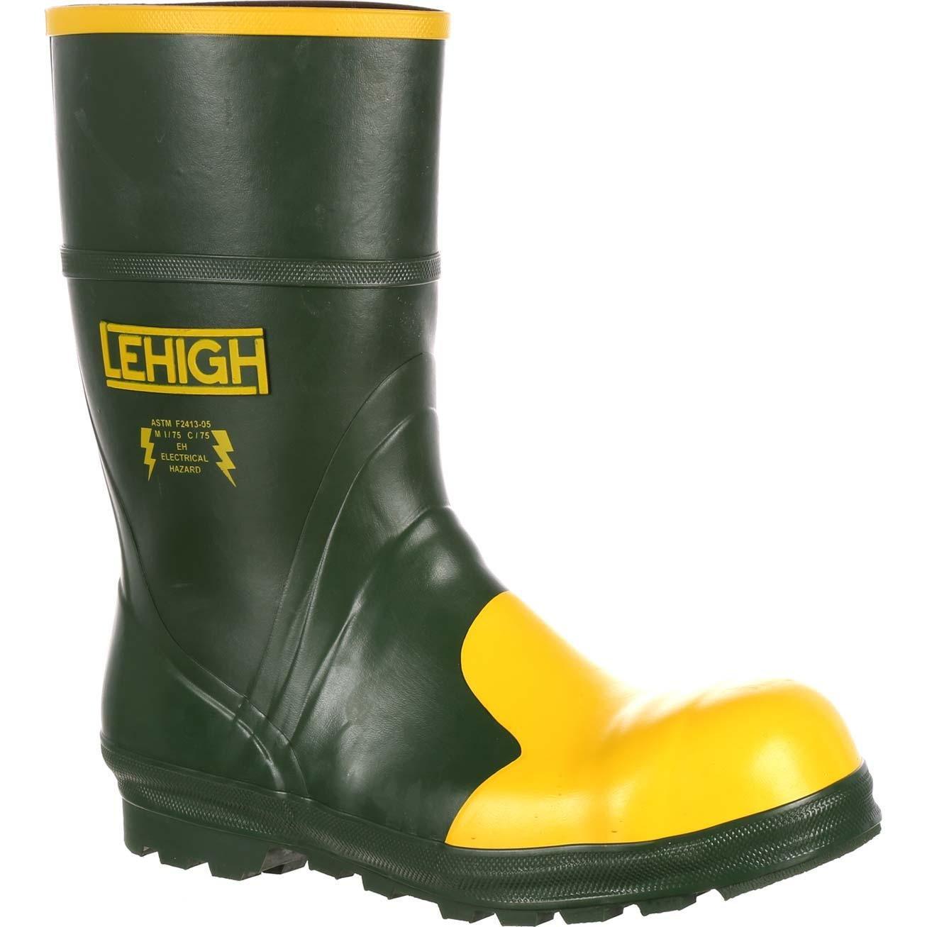 Lehigh Safety Shoes Unisex Steel Toe Rubber Hydroshock Waterproof Dielectric Work Boot Green