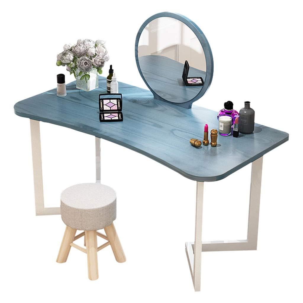 Yuanjiashop Schminktisch Waschtisch-Set mit rundem Schminkspiegel Schminktisch Schreibtisch mit Polster-Make-up-Hocker Einfache Montage Kosmetiktisch (Color : Blue)