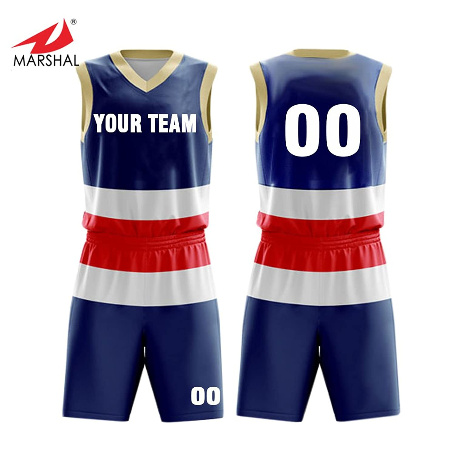 bf5e6bfb1 Amazon.com  Marshal Jersey 3 Colors Custom Basketball Jersey Set Full  Sublimation Sportswear Custom Men s Uniform Suit