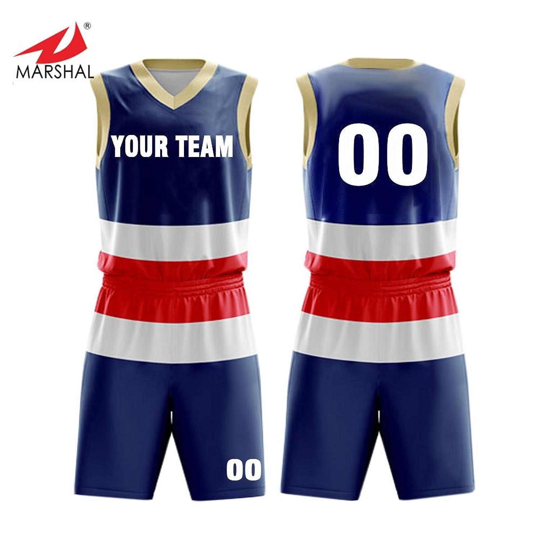a4c30a1973c Amazon.com  Marshal Jersey 3 Colors Custom Basketball Jersey Set Full Sublimation  Sportswear Custom Men s Uniform Suit