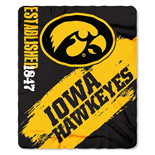 Iowa Hawkeyes Fleece Throw (NCAA Iowa Hawkeyes Painted Printed Fleece Throw Blanket, 50
