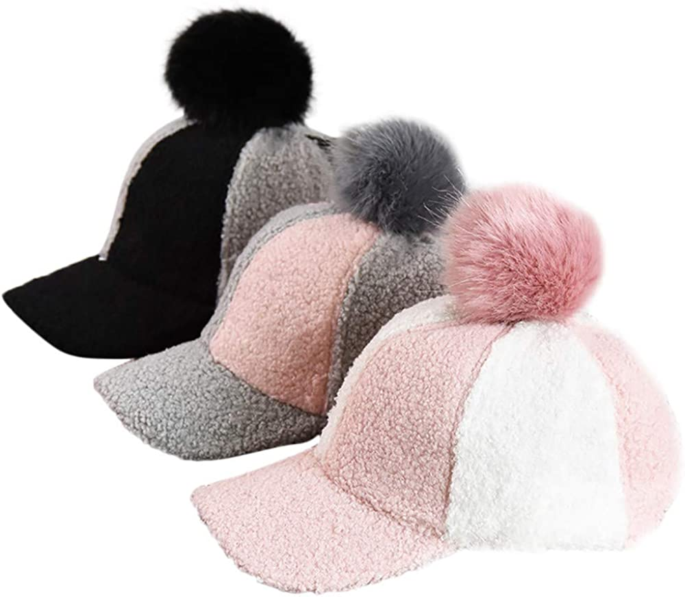 kaiCran Baby Fashion Baseball Cap Kids Boy Girl Pompoms Splicing Hat Size 3-8 Years