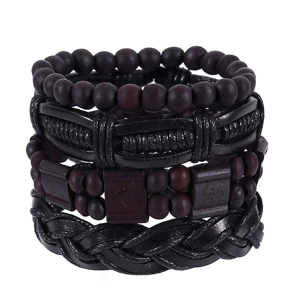 Toponly Mix 6 Wrap Braided Bracelet Vintage Hand-Woven Multi-Layer Hemp Cords Wood Beads Ethnic Leather Bracelet Jewelry Wristbands