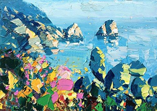 Seascape Capri Island Italy Painting Amalfi Coast Wall Art Canvas by Agostino Veroni