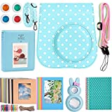 Katia Instant Camera Accessories for Fujifilm Instax Mini 9 or Mini 8 Instant Film Camera - (Fuji mini 9 Case with strap, Photo Album, Frame, Selfie Len, Filters, Stickes & more) - Blue Dot