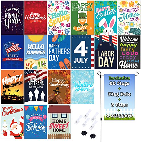 Fat Zebra Designs Seasonal Garden Flags Set | 19 Pack Assortment of 12-inch x 18-inch Flags | Includes Garden Flag Pole, Wind Clips and Stopper | Double-sided, Polyester, Durable