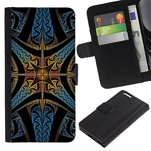 iKiki Tech / Etui Coque Housse de Protection en Cuir - Stained Glass Church Star Christian God - Apple iPhone 6 PLUS 5.5