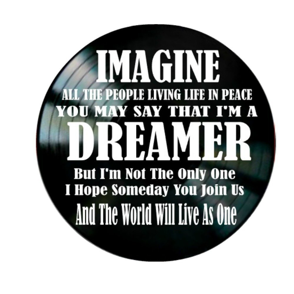 John Lennon Imagine song Lyrics on a Vinyl Record Album Wall Decor