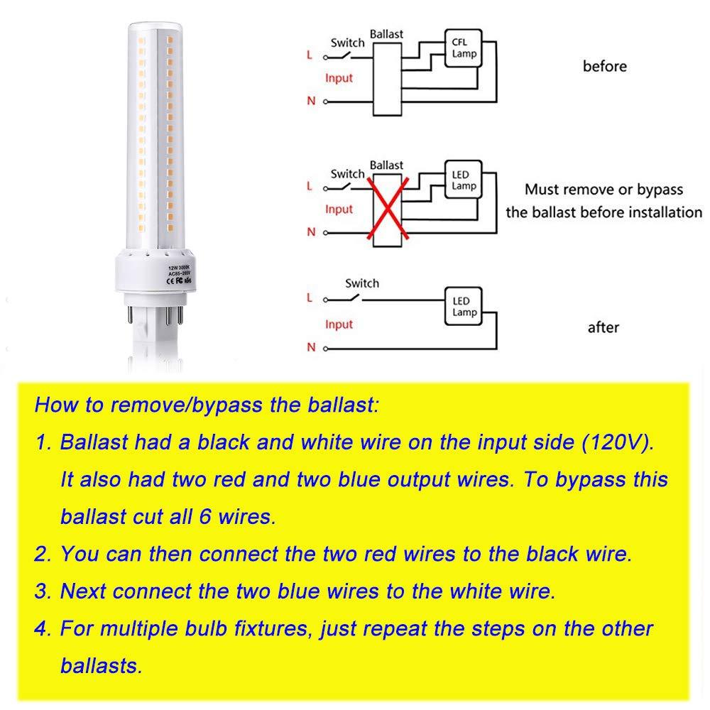 HengBo GX24 LED Light Bulb, 12W G24q/GX24q 4-Pin Base LED Bulb, 26W on 4 pin led connector, 4 pin trailer wiring, led connection diagram, 4 pin led retrofit, 4 pin trailer diagram, 4-way trailer light diagram, relay diagram, 4 pin led lighting, 12v switch diagram,