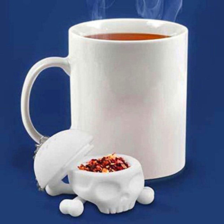 YUIO Infuseur /à th/é en silicone en forme de cr/âne humain pour th/é caf/é boisson blanc