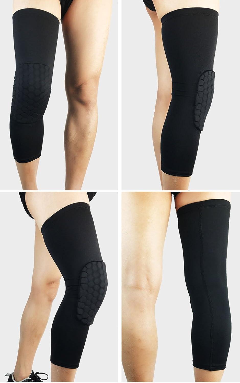 Haresle 1pc Honeycomb Hex Padded Crashproof Knee Pads Football Leg Sleeve Kneepad Basketball Compression