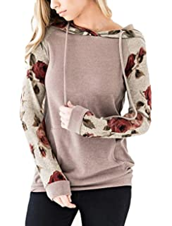 The Aron ONE Damen Casual Farbblock Blumen Langarm Taschen Sweatshirt  Hoodie Pullover Kapuzenpullover Oberseiten fe34f2ce1b