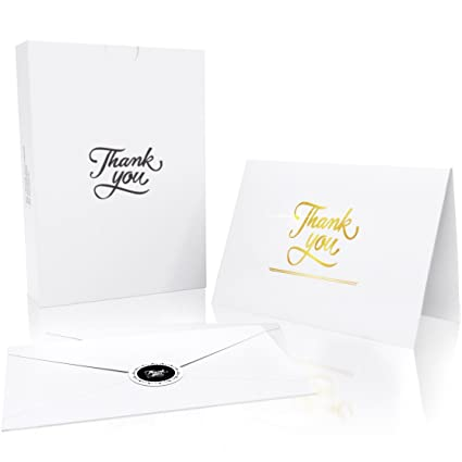 Kronpaper thank you cards with 20 envelopes and 20 stickers gold foil embossed letters