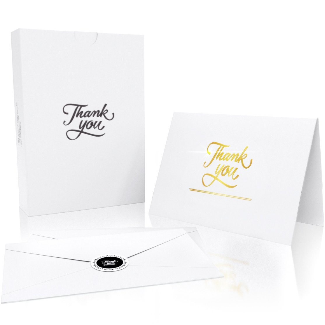 Thank You Cards with 20 Envelopes and 20 Stickers - Gold Foil Embossed Letters - Perfect Greeting Card for Baby Shower, Wedding, Business or Graduation