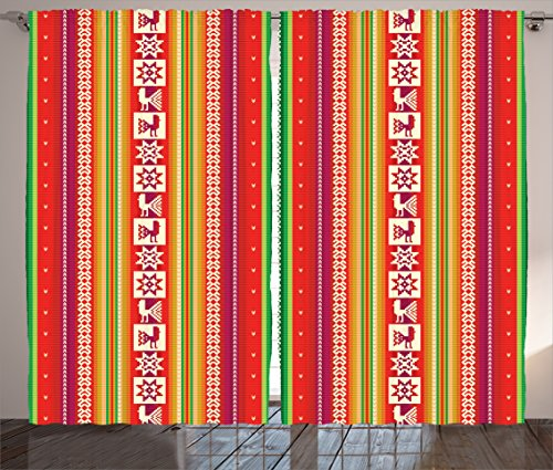 """Ambesonne Colorful Curtains, South American Star Animal Motifs Vermilion and Lime Green Vertical Stripes, Living Room Bedroom Window Drapes 2 Panel Set, 108"""" X 90"""", Red Green"""