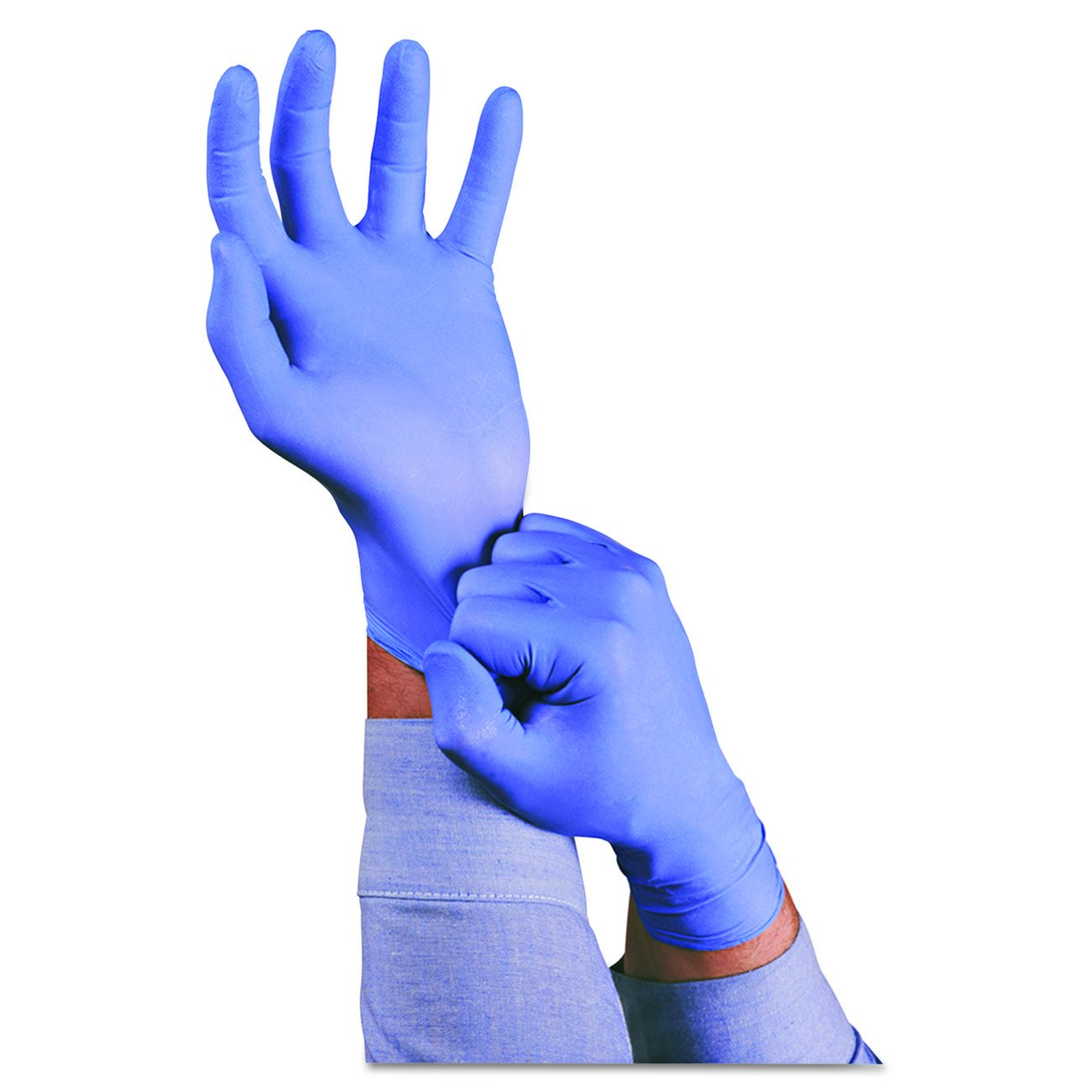 Ansell Touch n Tuff 92-675 Disposable Nitrile Gloves Chemical Protection, Latex-Free, Powder-Free Glove for Food Preparation, Mechanics or DIY Applications, Blue, Size Medium, Case of 100 Units