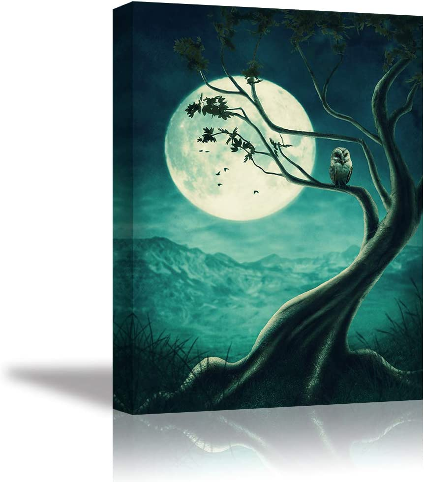 Owl on Tree Canvas Wall Art Teal Green Painting Animal Wall Decor Moon Picture Home Decoration for Bedroom (Waterproof, Ready to Hang)