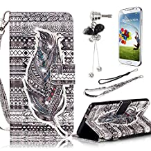 Samsung Galaxy S4 Case,Sunroyal Noble Feather Diamond PU Leather Flip Wallet Case Cover with Removable Wrist Hand Strap & Kickstand Holder& Card Slots+ Screen Protector + Diamond Anti Dust Plug