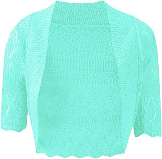 Neuf Grande Taille Femmes Manches Longues finement Tricot BOLERO Court Veste corail taille 52//54