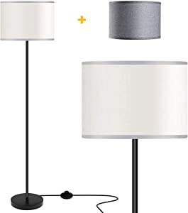 Floor Lamps for Living Room with 2 Lamp Shades, LED Modern Standing Lamp Simple Design, Tall Reading Pole Lamp Standing Light, Black Floor Lamps for Bedroom, Office, Study Room by PARTPHONER