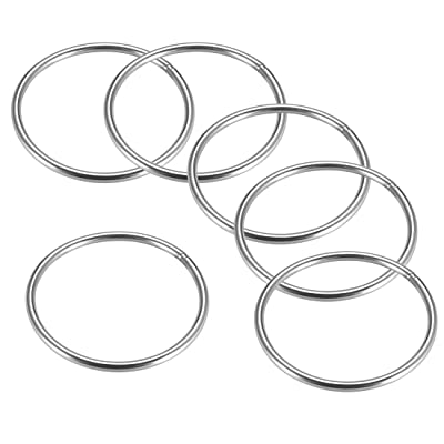 uxcell Stainless Steel O Ring 80mm Outer Diameter 4mm Thickness Strapping Welded Round Rings 6pcs: Home Improvement