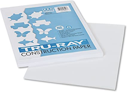 9 x 12 White 50 Sheets//Pack 76 lbs Pacon 103026 Tru-Ray Construction Paper