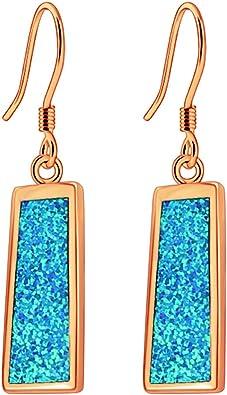 Fashion 18K Yellow Gold Plated Fire Opal Ear Stud Hook Dangle Engagement Earring