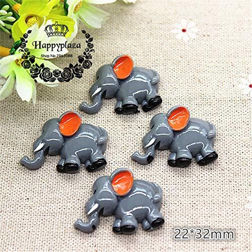 ZAMTAC 10pcs Kawaii Resin Cartoon Animal Elephant Miniature Art Supply Decoration Charm Craft,2232mm ()